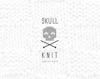 Skull Logo,Needles Logo,Premade Logo,Boutique Logo,Store logo,Knit Logo,Ideas Knitting Logos,Emblem Logo,Skull And Bones Logo,Business Logo