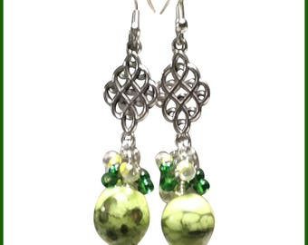 Green and White Chandelier Earrings