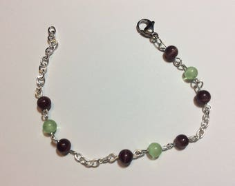 "Bracelet for woman ""Brown and green cat's eye chained"""
