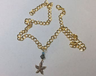 "Necklace for women ""Starfish and its crystals"""