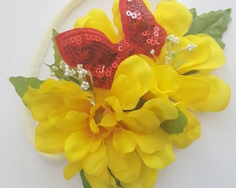 Yellow & Red Sequin Butterfly Floral Cluster Headband