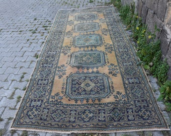 Free Shipping Unique Turkey Rug Oushak Rug 4.6 x 11.3 feet Vintage Runner Rug Floor Rug Boho Rug Decorative Wool Rug Area Rug Code163