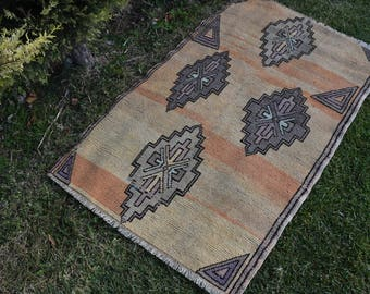 Free Shipping Small Area Turkish Rug 3.1 x 4.7 feet Home Decor Organic Wool Rug Oushak Rug Handknotted Floor Rug Decorative Boho Rug DC903