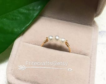Pearls ring, multipearls ring, handrapped ring, Sterling silver ring, 14k gold filled ring, natural pearls ring