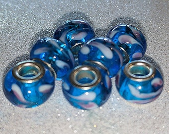 Beautiful European Style Large Hole Blue Glass Beads with Colored Swirls (5mm hole)
