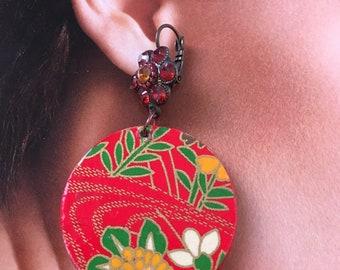 Japan original Japanese Washi paper earrings, original, spring 2018