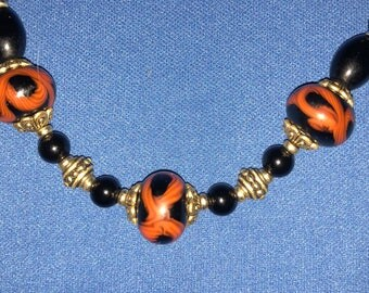 Black Onyx and Artesian Lamp Works Beaded Necklace and Bracelet