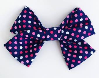 Pink & Navy Polkadot Bow