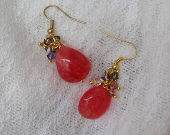 Pink Quartz and Swarovski Crystal Beads Drop Earrings