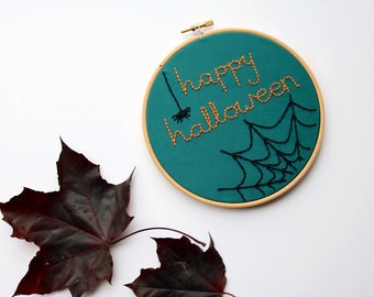 Happy Halloween Embroidery Art, Hand Embroidery, Wall Hanging, 6 inch Hoop