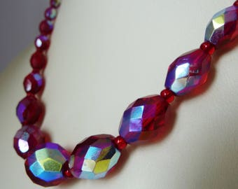 Vintage Red Aurora Borealis Crystal Necklace 1950s 1960s Jewellery