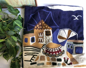 Boho Beach Throw Pillow Covers, Mexican Mission Scene, Bohemian Stitched Southwest Pillows
