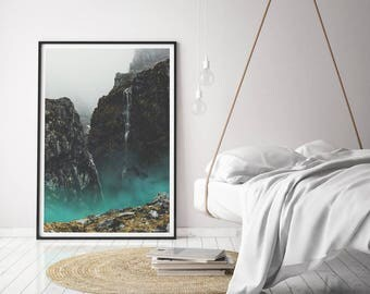 Mountain Fog Print Art, Abstract Landscape Wall Art, Teal Printable Poster, Fog Printable, Cliff Photography Art, Modern Photography Print
