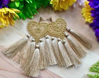 Silk Tassel earrings/ Gold Earrings/ Chandelier Earrings/ Long Earrings/ Fashion Earrings/ Boho-Chic earrings/ Statement Earrings/ summer