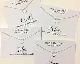 Bridesmaid Proposal Necklace Cards + Maid Of Honour