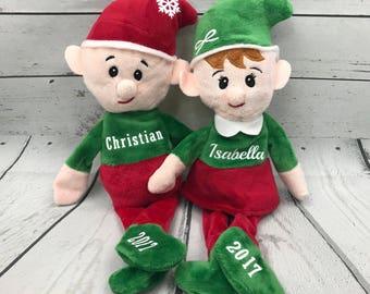 Personalized Christmas Plush Elf with Child's Name / Stocking Stuffer / Gift for Kids / Santa's Elf / Christmas Elves