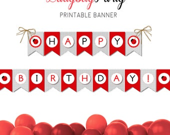 Printable party banner, Ladybug party banner, Happy birthday banner, Ladybug party theme, Print your party, DIY party decor, Printable party