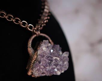 Electroformed Amethyst cluster pendant necklace | large statement pendant, purple crystal gemstone, blackened copper chain, crystal cluster