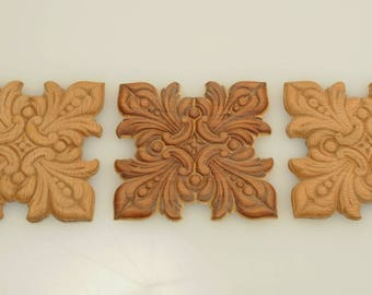 Square Wood Appliques 3 X 3 Inches 3 Pieces