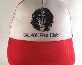 80s Oregon Primate Research Center Fan Club Trucker Hat Snapback ORPRC Retro Primatology Great Apes Chimpanzee Novelty Pacific Northwest Red