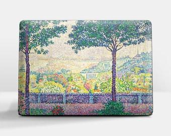 "Laptop skin (Custom size). Paul Signac, ""Terrace in Meudon"". Laptop cover, HP, Lenovo, Dell, Sony, Asus, Samsung etc."