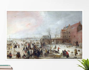 "Hendrick Avercamp, ""A Scene on the Ice..."".  Art poster, art print, rolled canvas, art canvas, wall art, wall decor"