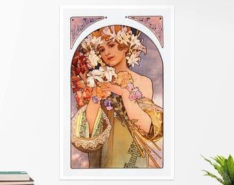 """Alfons Mucha, """"The Flower"""". Art poster, art print, rolled canvas, art canvas, wall art, wall decor"""