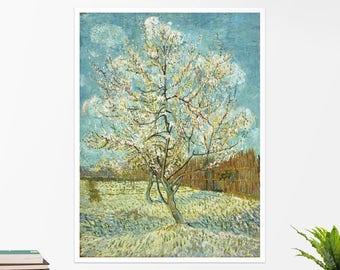 "Vincent Van Gogh, ""The Pink Peach Tree"". Art poster, art print, rolled canvas, art canvas, wall art, wall decor"