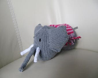 Plush Elephant and his striped blanket