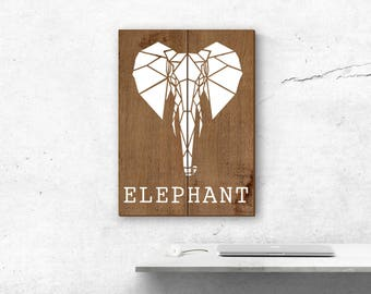 Geometric painting, animal painting, painting wood, elephant, wall decor, origami