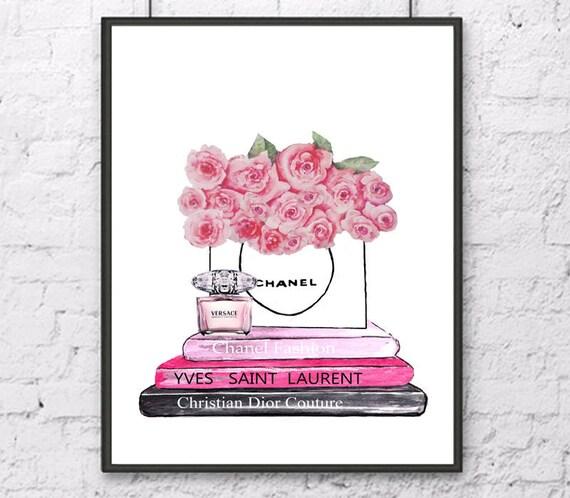 chanel kunst druck chanel tasche poster mode aquarell rosa. Black Bedroom Furniture Sets. Home Design Ideas