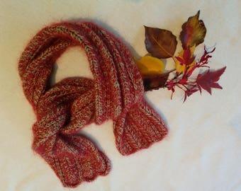 Rowan kidsilk Scarf/Red Green Lace Scarf/Rich Autumn colour Scarf