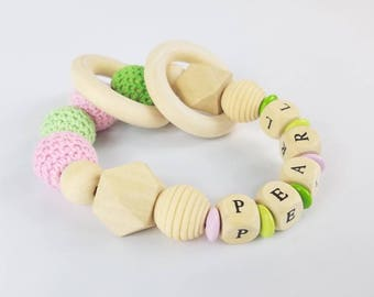 Personalized Baby Girl Teether   Teething Ring  Baby Name Gift  Wooden Rattle  Crocheted beads  Pink and green