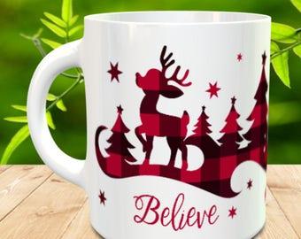 Buffalo Plaid Believe Coffee Mug, Reindeer Coffee Mug, Red Plaid Coffee Cup, Gift For Her, Winter Coffee Mug, Buffalo Plaid Coffee Cup