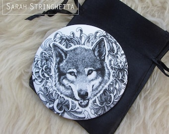 Pocket mirror with its satin pouch - Wolf head and Chrysanthemums - dotwork ink drawing