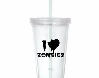 I Love Zombies Horror Tumbler Cup Gift Home Decor Gift for Her Him Any Color Personalized Custom