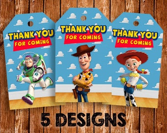Toy Story Thank You Tags, Instant Download, Woody, Buzz Lightyear, Thank You Labels, Toy Story Favor Tags, Birthday Labels