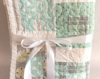 Baby Quilt - Light Green, Grey, and White
