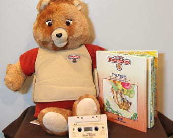 Original 1984 Teddy Ruxpin Animatronic Plush Talking Bear PLUS Cassette Tape and Book for The Airship