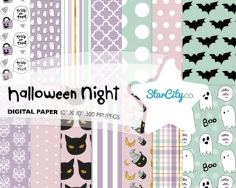 Halloween Digital Paper Pack, Halloween Paper, Digital Paper, Bat Digital Paper, Black Cat paper, Holiday Paper, Ghost paper, Commercial use