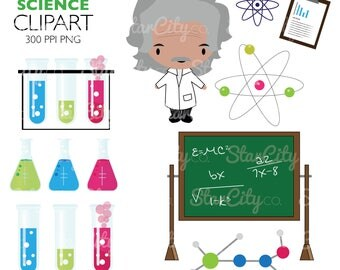 Science clipart, Mad Scientist Clip Art, Flask Graphics, Test tube clipart, Artwork for stickers, Commercial Use, instant download