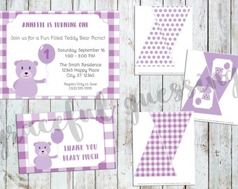 Printable Birthday Party Set - Teddy Bear Picnic - Editable Invitation - Favor Tags - Bunting - Decor - Thank You Notes - Birthday Party Kit