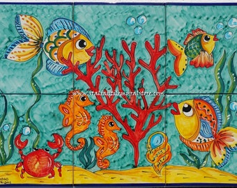 Handmade and hand painted aquarium tile   . Sea Life tile Custom for You!! Tile with fish