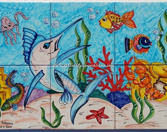 Beautiful artwork reproduced for tiles and depicts a marlin chasing the bait. Backsplash Mural Tile Ceramic hand painted . Custom for You!!