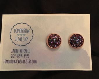 Katie 12mm Metallic Purple Flat Druzy Rose Gold Setting