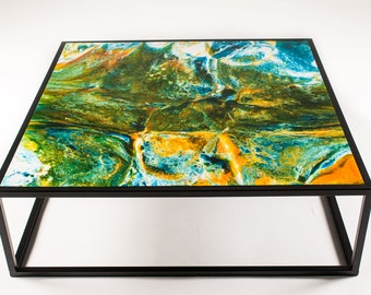 Contemporary Bespoke  Coffee table | Heat Resistant | Made with Resin & Steel framed | All Sizes available  |