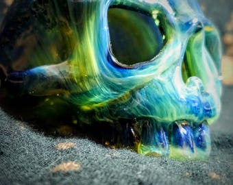 Glass skull sculpture