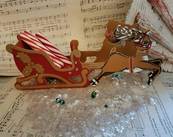 Vintage Santa Sleigh / Vintage Santa Claus /  Vintage Christmas Decor / Antique Christmas / Vintage Christmas Reindeer / Holiday Decor