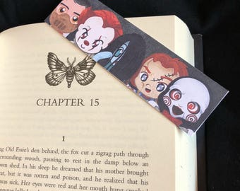 Horror bookmark / Halloween bookmark / Pennywise / The Ring / Hannibal / Jigsaw / Chucky / Scary bookmark / Gift idea / Bookish
