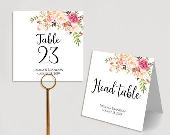 Personalized Table Numbers Printable Wedding Table Numbers Wedding Table Number Template Folded PDF Instant Download Pastel Blooms